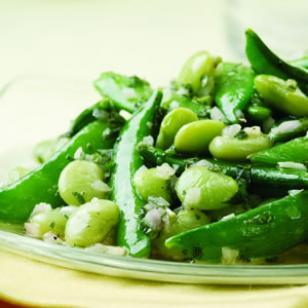 Lemon Mint Snap Peas and Lima Beans