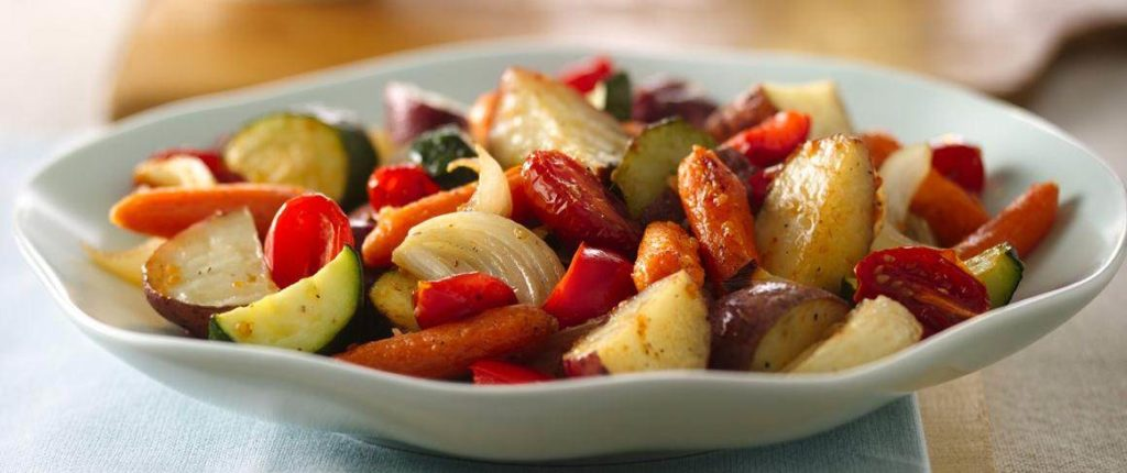 cast iron roasted potatoes and vegetables